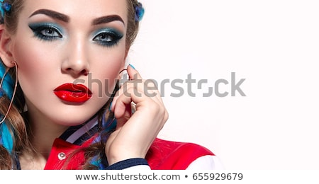 beautiful girl with modern braids and red makeup Stock photo © svetography