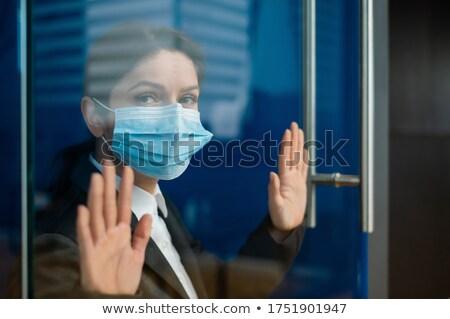 手 女性 触れる ガラス クローズアップ 男 ストックフォト © wavebreak_media
