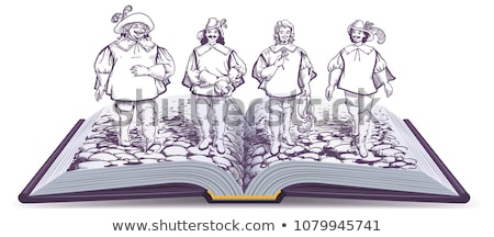 Open book historical novel illustration about three musketeers Stock photo © orensila