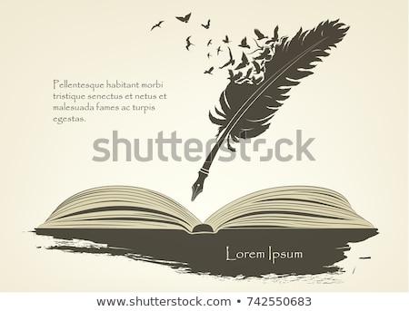 Stockfoto: Veer · pen · Open · boek · illustratie · abstract · achtergrond