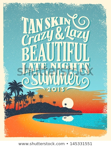 Wakacje egzotyczny wyspa retro plakat plaży Zdjęcia stock © tracer