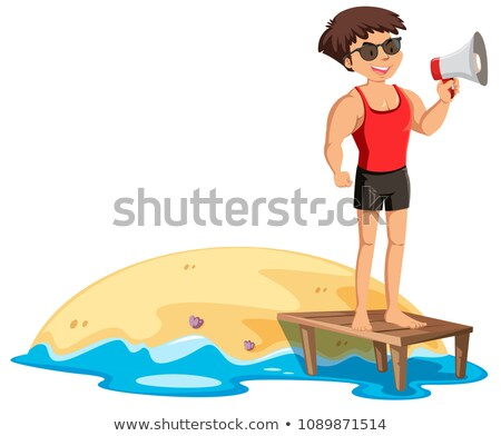 A Fit Lifeguard Next to the Shore Stock photo © bluering