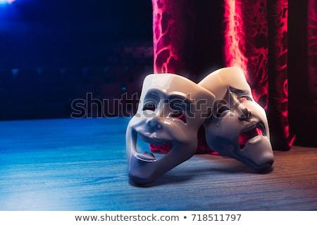 コメディー · 悲劇 · マスク · 劇場 · 黒板 - ストックフォト © lightsource