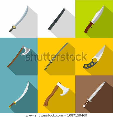 Cold steel arms - flat design style icons set Stock photo © Decorwithme