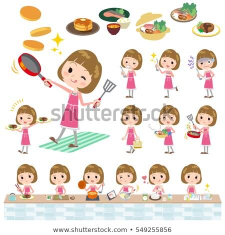 прямой волос розовый блузка женщины приготовления Сток-фото © toyotoyo