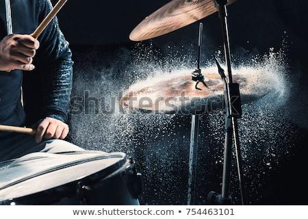 man · spelen · trommel · uitrusting · geluid - stockfoto © dolgachov