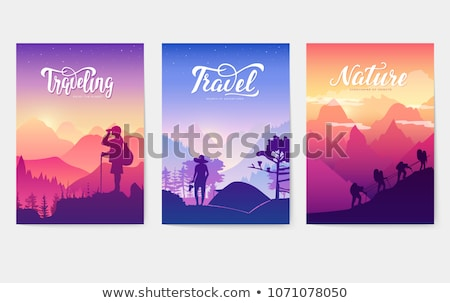 Tourist climb to the top of the mountain. Rest in the national Park with a tent and barbecue. limber Stock photo © Linetale