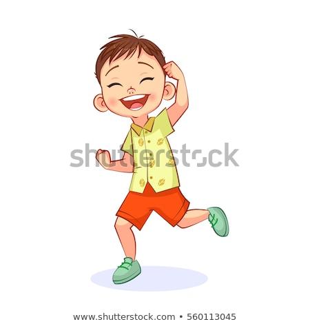 Criança menino sim sucesso pose tipografia Foto stock © lenm