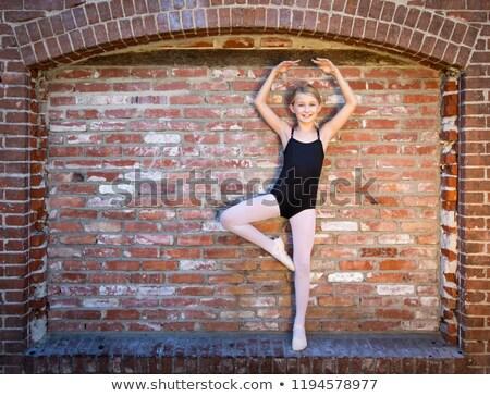 Cute Caucasian Ballerina Girl Posting Against A Brick Wall Stock photo © feverpitch
