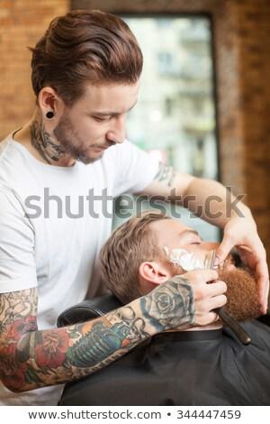 Fodrász szakáll megnyugtató szék kilátás férfi Stock fotó © Kzenon