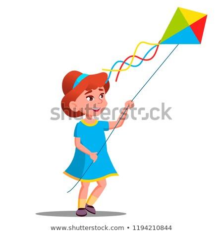 gyerekek · játszanak · papírsárkány · illusztráció · lány · gyerekek · gyermek - stock fotó © pikepicture