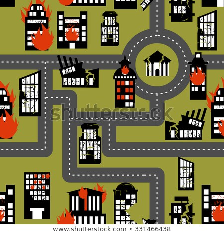 earthquake in seamless pattern urban structures destroyed fire stock photo © popaukropa