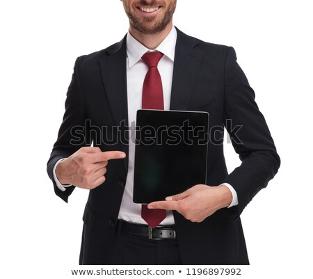 body of smiling businessman pointing at blank tablet screen Stock photo © feedough