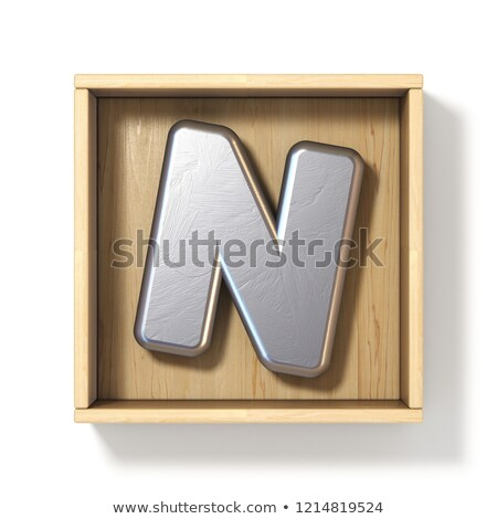 Silver metal letter N in wooden box 3D Stock photo © djmilic