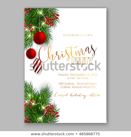 Christmas Card With Firtree Border And Bow Stock photo © cammep