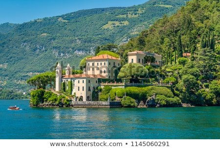 Villa lago casa panorama montagna bella Foto d'archivio © boggy
