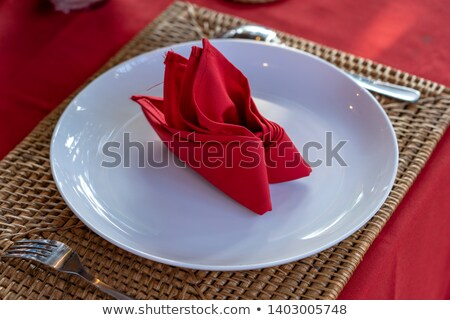 nice close up of a dining table with fancy table setting stock photo © iriana88w
