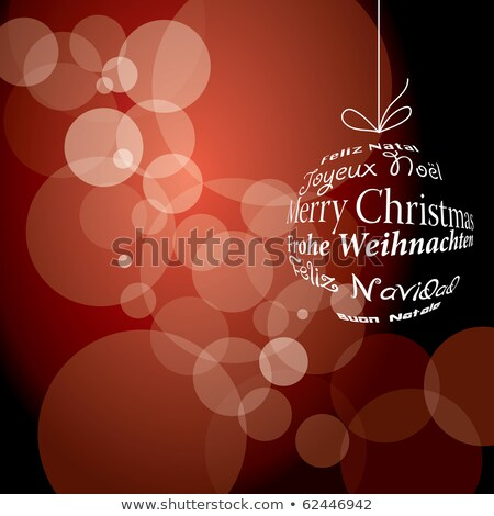 Red Christmas card with ornament ball in spanish Stock photo © cienpies
