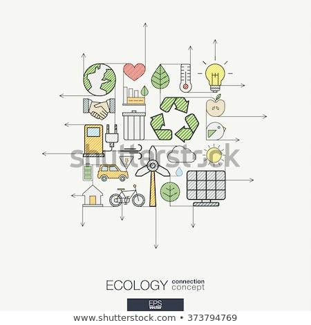 Zdjęcia stock: Recyklingu · nowoczesne · line · projektu · stylu · kolorowy