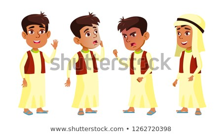 Arab, Muslim Boy Schoolboy Kid Poses Set Vector. Primary School Child. Little Kid. Face. For Postcar Stock photo © pikepicture