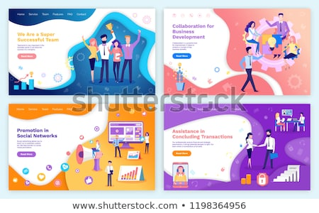Collaboration Poster with Workers Laptops Vector Stock photo © robuart
