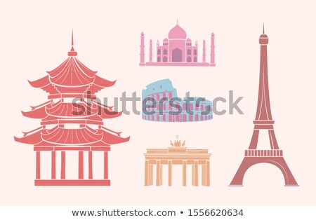 World Famous Sights Travel Pastel Stickers Set Stock photo © robuart