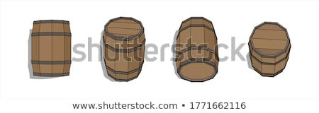 Beer Set and Round Wooden Cask Vector Illustration Stock photo © robuart