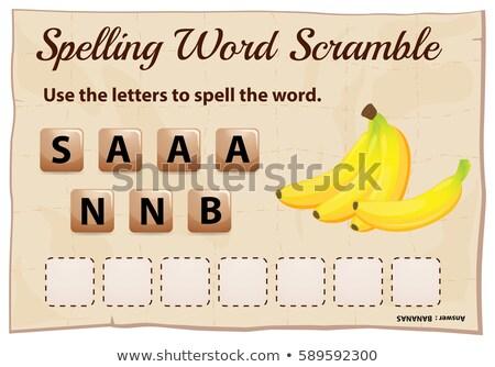 Rechtschreibung Wort Spiel Vorlage Bananen Illustration Stock foto © colematt