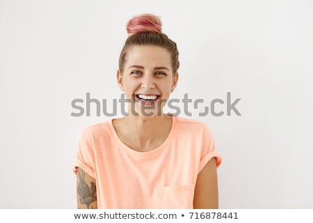 Portret jonge glimlachend cute tiener witte Stockfoto © Lopolo