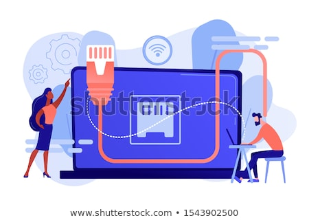 Ethernet Verbindung Geschäftsmann Tabelle mit Laptop lan Stock foto © RAStudio
