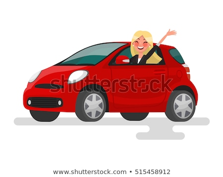 Stock photo: Beautiful woman driver in car. Isolate on a white background. In