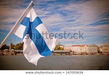 Casa bandeira Finlândia branco casas Foto stock © MikhailMishchenko