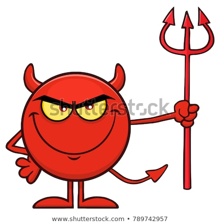 Angry Devil Cartoon Character Holding A Pitchfork Stock photo © hittoon