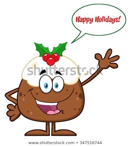 Boldog karácsony puding rajzfilmfigura integet szövegbuborék Stock fotó © hittoon
