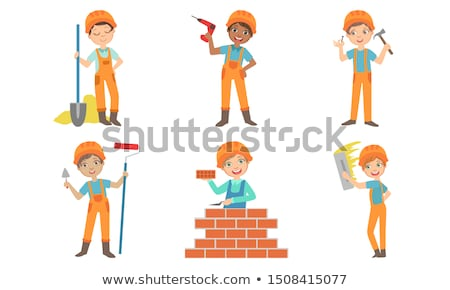 Gyerek lány védősisak felirat illusztráció visel Stock fotó © lenm