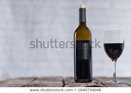 エレガントな ガラス 赤ワイン コークスクリュー 暗い 木製 ストックフォト © DenisMArt