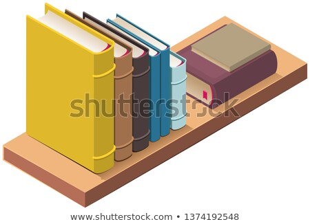Bookshelf and several hardcover books. 3d vector isometric illustration Stock photo © orensila