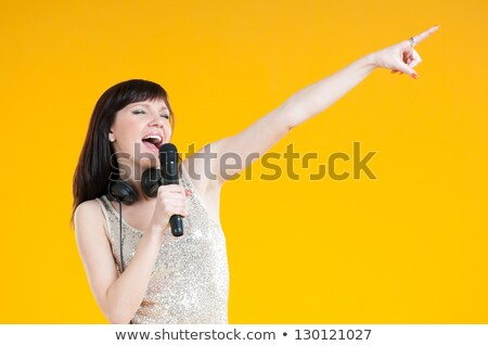 Singing Lady Holding Microphone Woman with Mike Stock photo © robuart