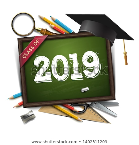 Graduating class of 2019. Poster, party invitation, greeting card. Chalkboard, graduation cap, penci Stock photo © ikopylov
