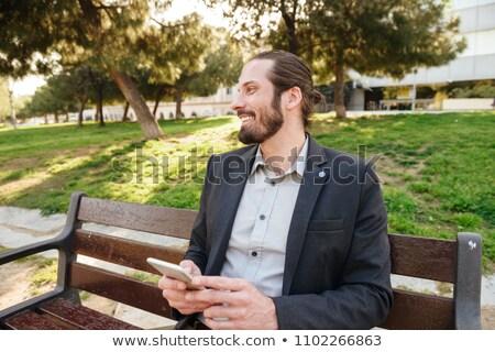 Foto behaard bebaarde zakenman 30s Stockfoto © deandrobot