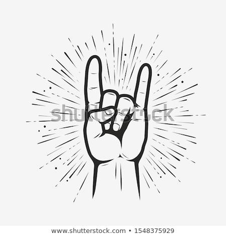 Kő zsemle fém ördög agancs kézmozdulat Stock fotó © unweit