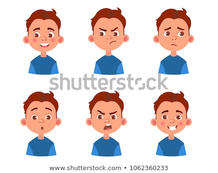 Set of female head and facial expression Stock photo © colematt