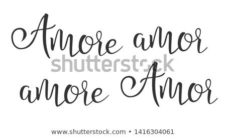 Stock fotó: Funny Modern Calligraphy Ink Of Word Amor Vector