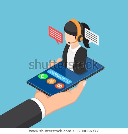 Stockfoto: Call · center · hoofdtelefoon · isometrische · 3d · illustration · ingesteld · exploitant