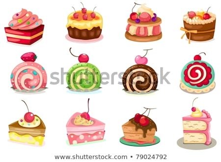dessert cake and sweet cake piece icons set vector stock photo © robuart