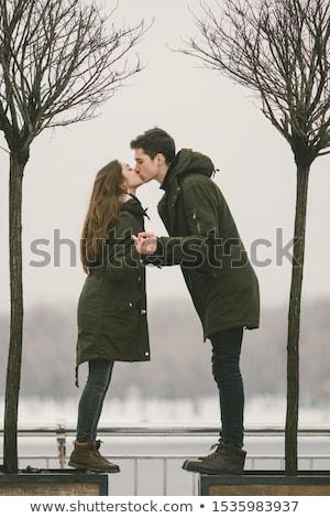 Junge kalten Wetter Stadt junger Mann warme Kleidung Stock foto © ra2studio