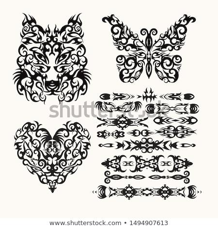 Vektor tribal Set Herz Wolf Schmetterling Stock foto © Margolana