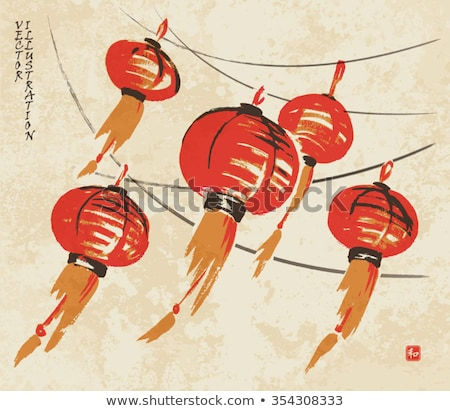 Chinese Lantern Cultural Decoration Ink Vector Stock photo © pikepicture