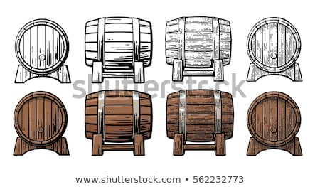 Winery Drawn Wooden Oak Barrel Front View Color Vector Stock photo © pikepicture