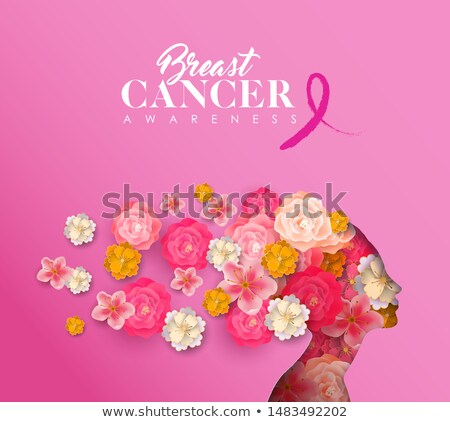 Breast cancer awareness card papercut flower woman Stock photo © cienpies